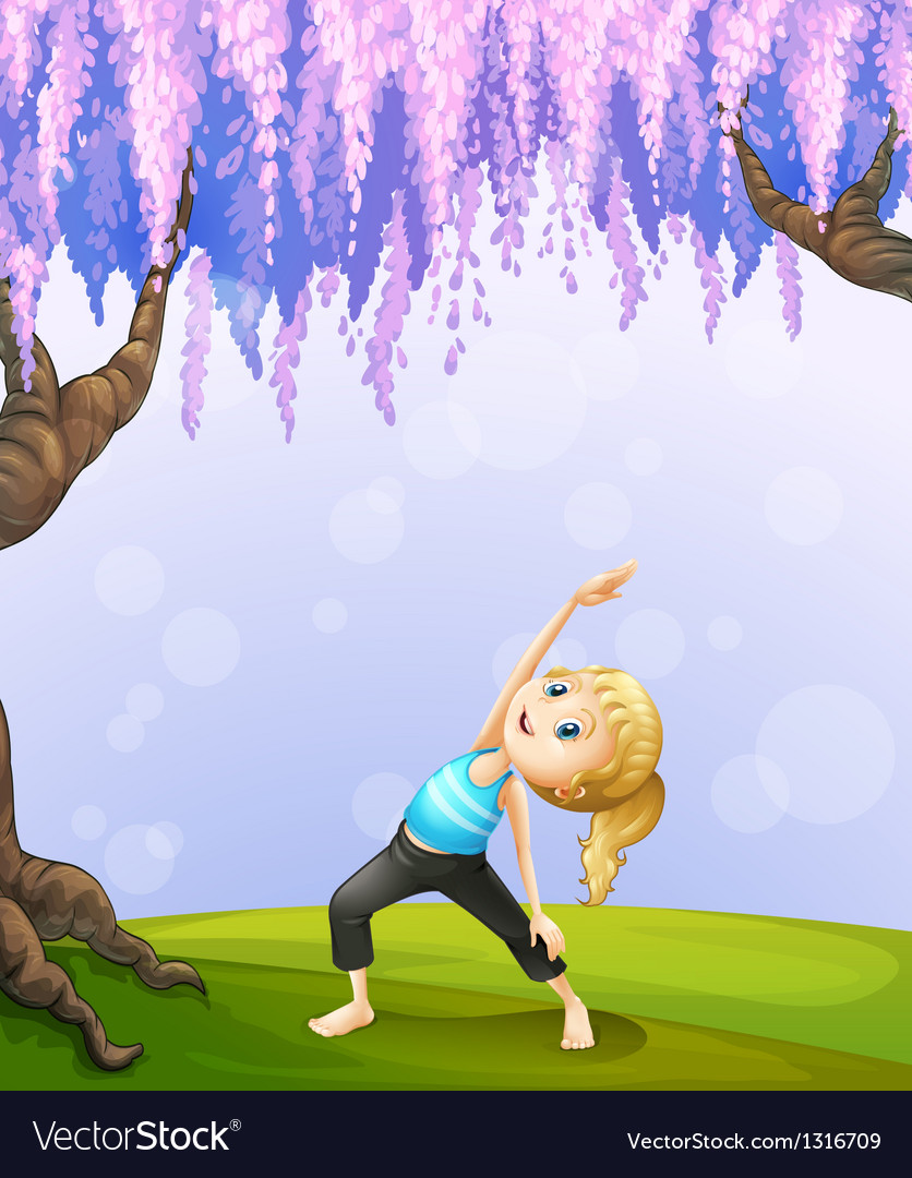 A girl exercising near the giant tree vector | Price: 1 Credit (USD $1)