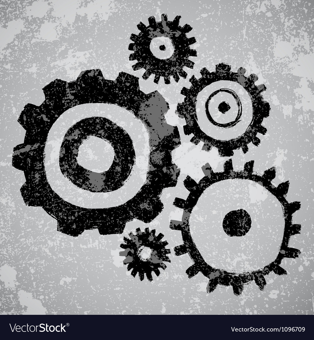 Abstract grunge background with gears vector | Price: 1 Credit (USD $1)