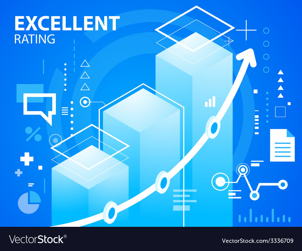 Bright excellent rating on blue background f vector   Price: 3 Credit (USD $3)
