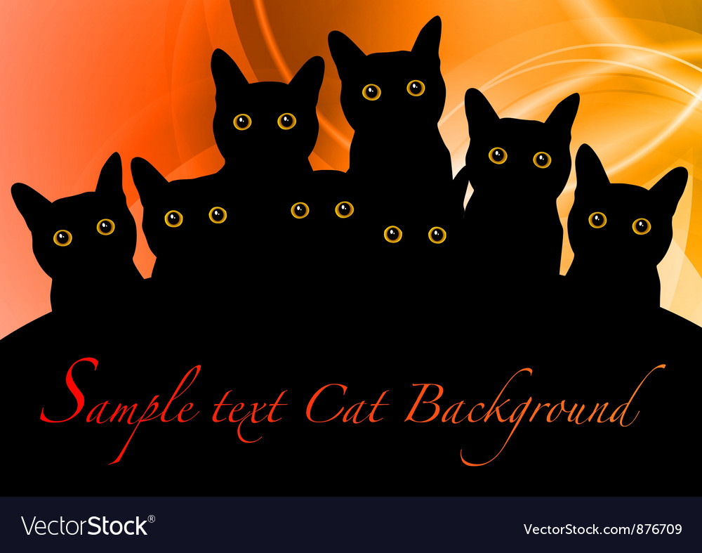 Cat black background orange vector | Price: 1 Credit (USD $1)