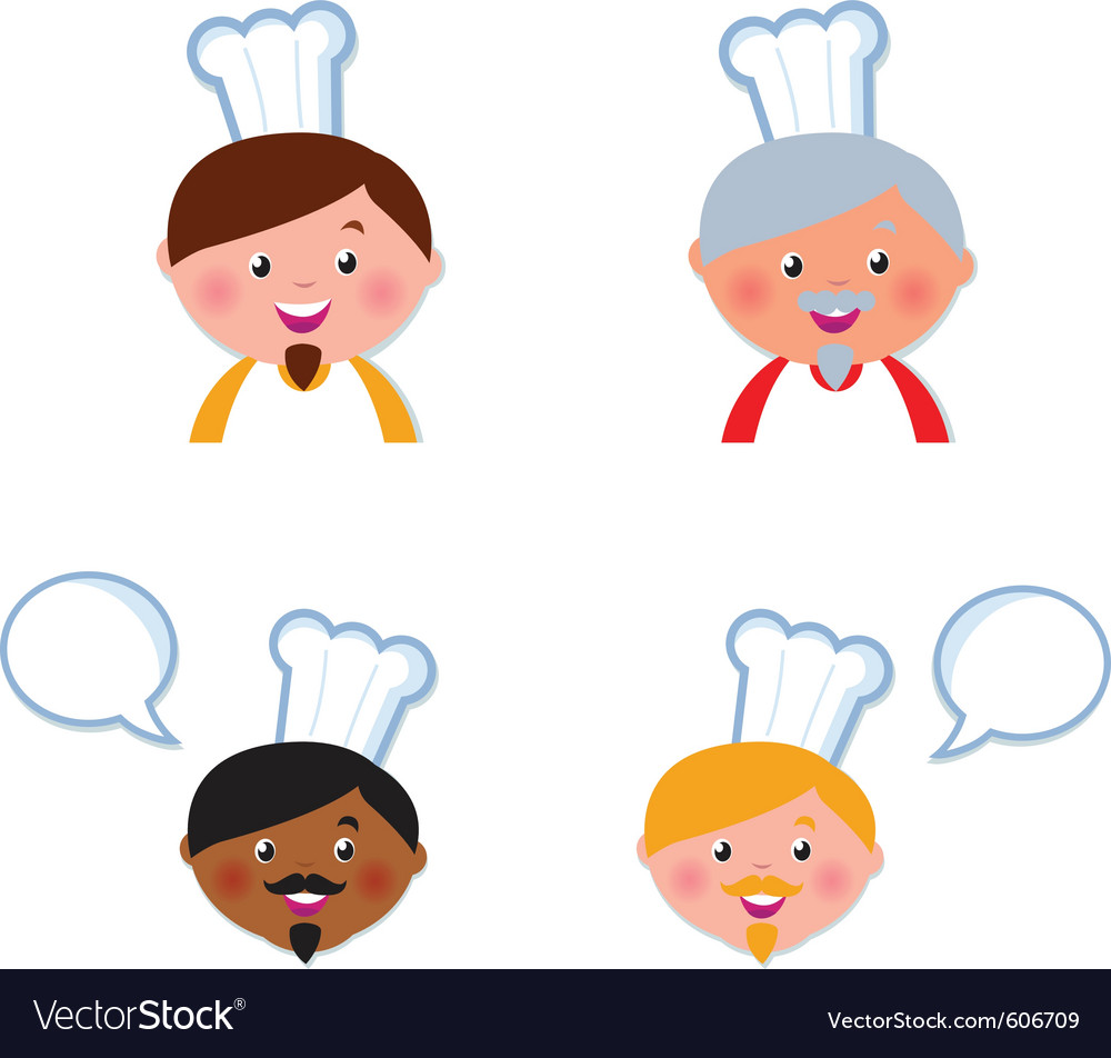 Cute chef heads vector | Price: 3 Credit (USD $3)