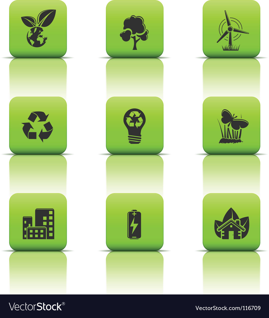 Eco icons green buttons vector | Price: 1 Credit (USD $1)