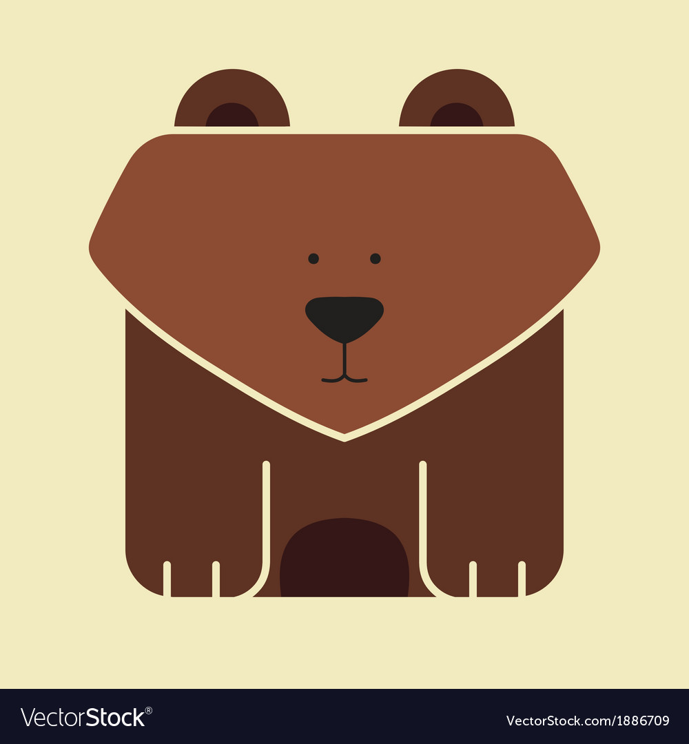 Flat square icon of a cute bear vector | Price: 1 Credit (USD $1)