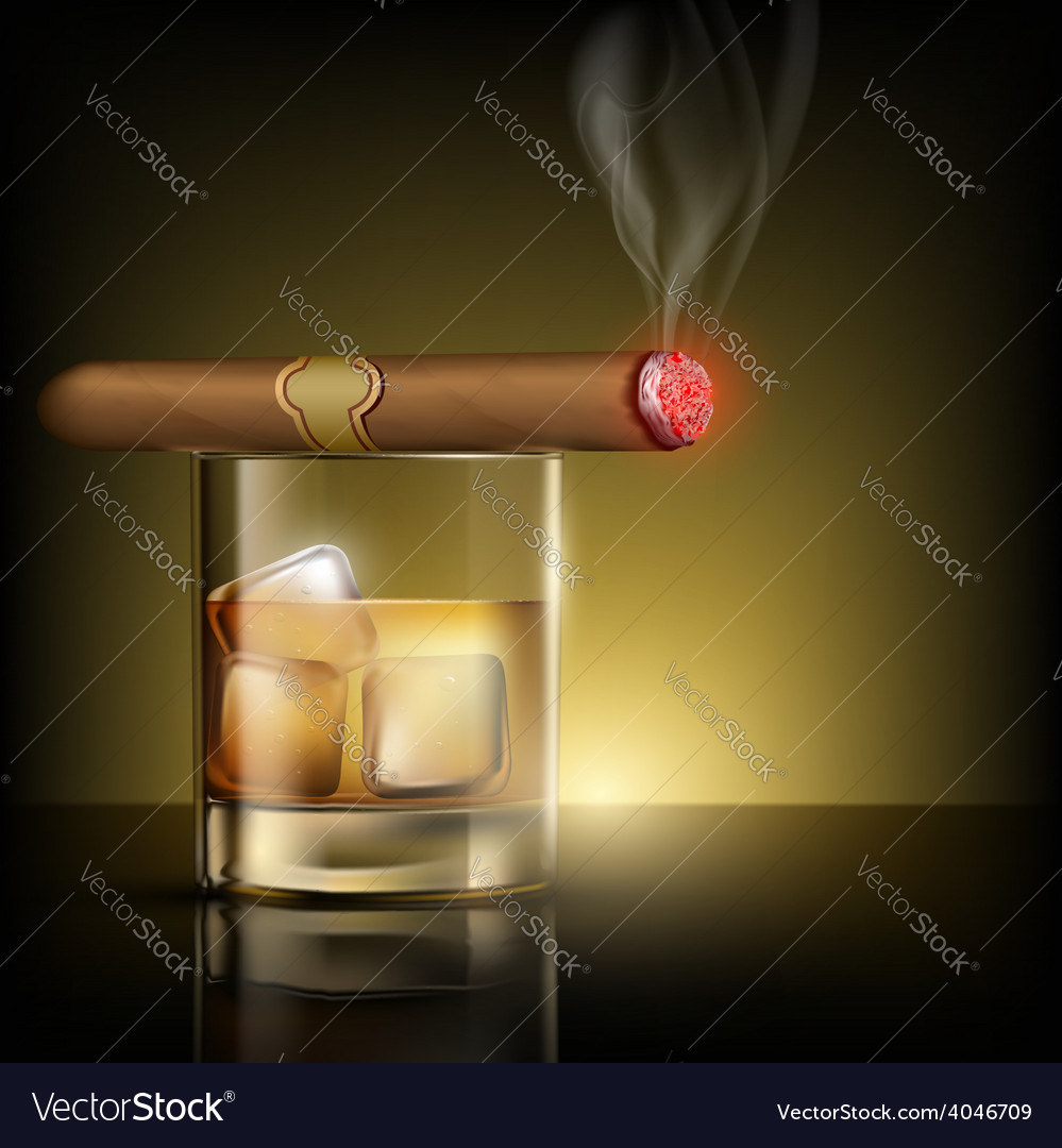 Glass of whiskey with ice cubes and cigar vector | Price: 1 Credit (USD $1)