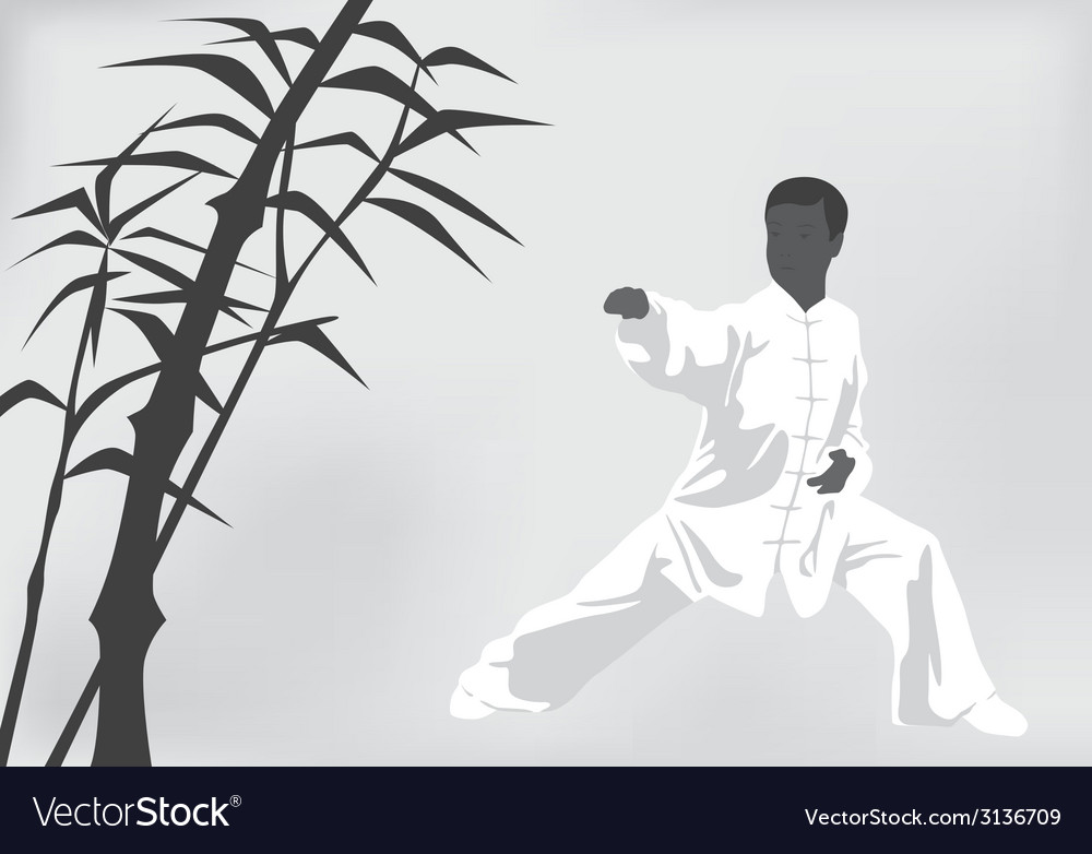The man engaged kung fu on a black white vector | Price: 1 Credit (USD $1)