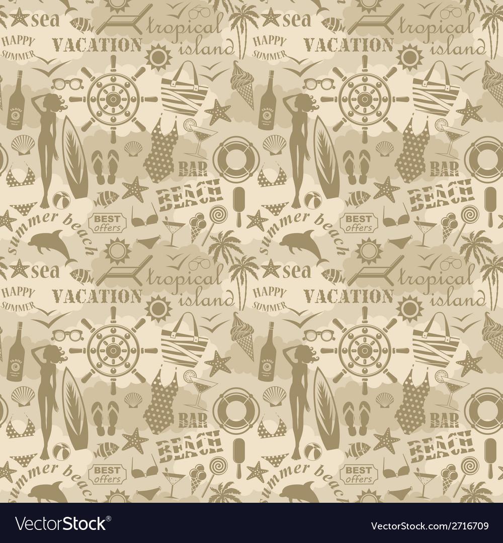 Seamless beach pattern vector | Price: 1 Credit (USD $1)