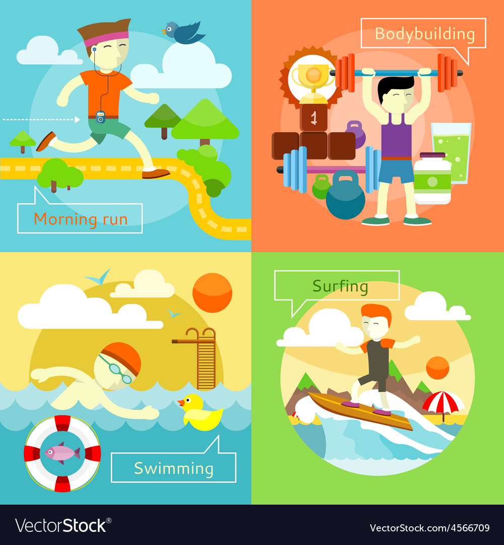 Surfing swimming morning run and bodybuilding vector | Price: 1 Credit (USD $1)