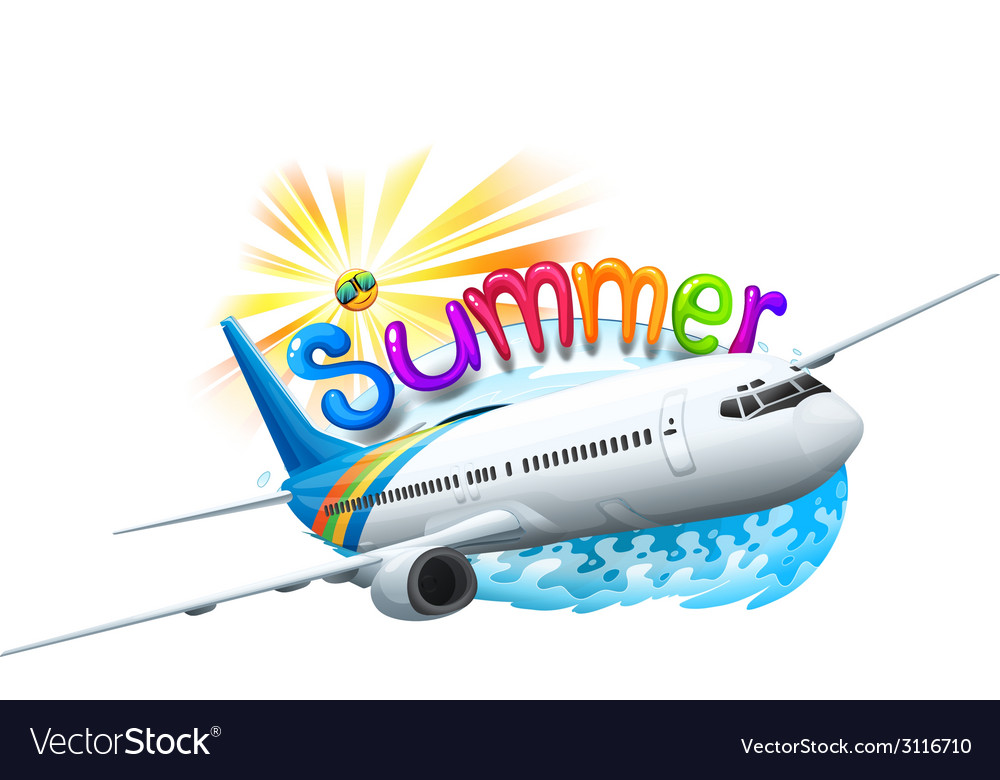 A summer template with a plane vector | Price: 1 Credit (USD $1)