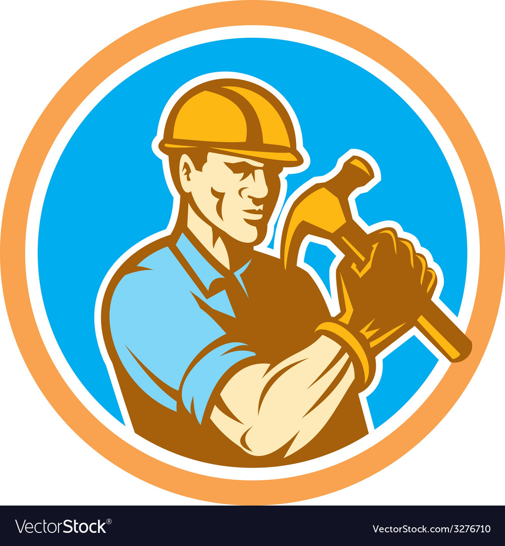 Builder carpenter holding hammer circle retro vector | Price: 1 Credit (USD $1)