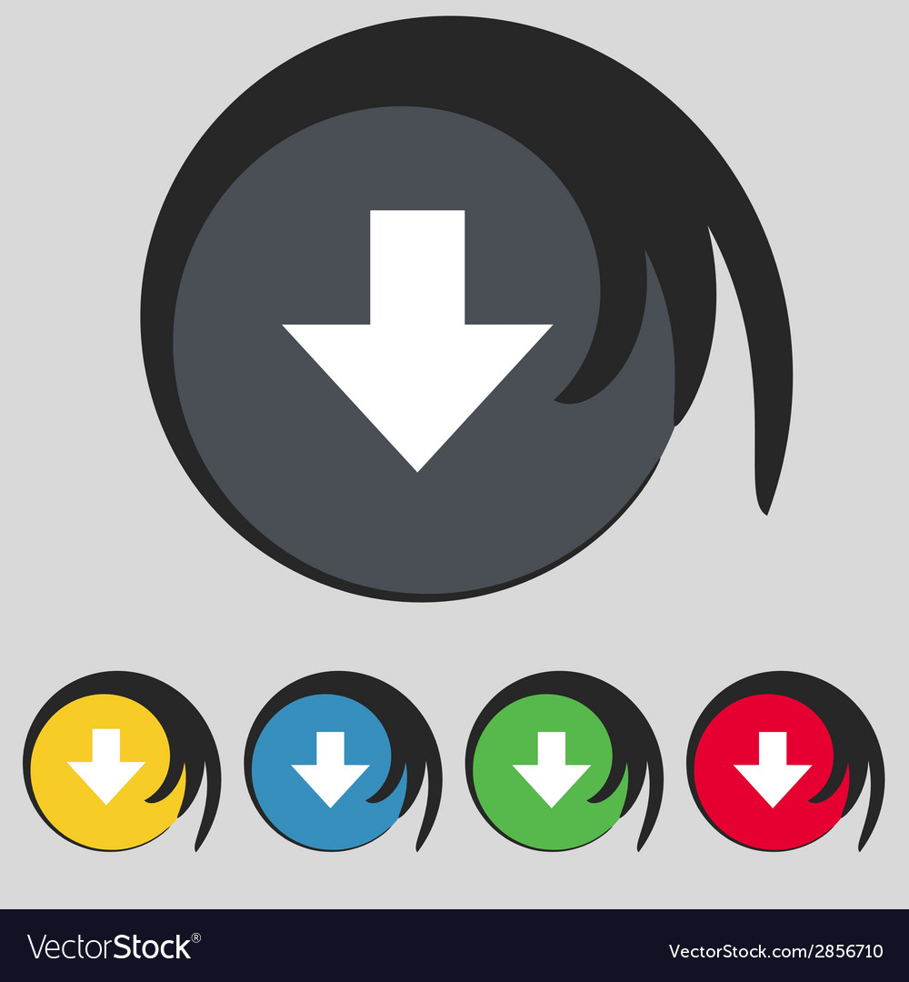 Download sign downloading flat icon load label set vector | Price: 1 Credit (USD $1)
