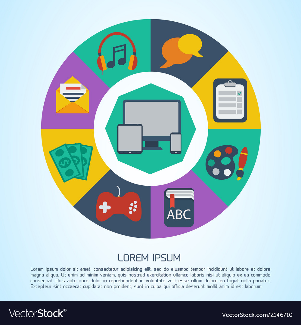 Flat computer infographic background vector | Price: 1 Credit (USD $1)