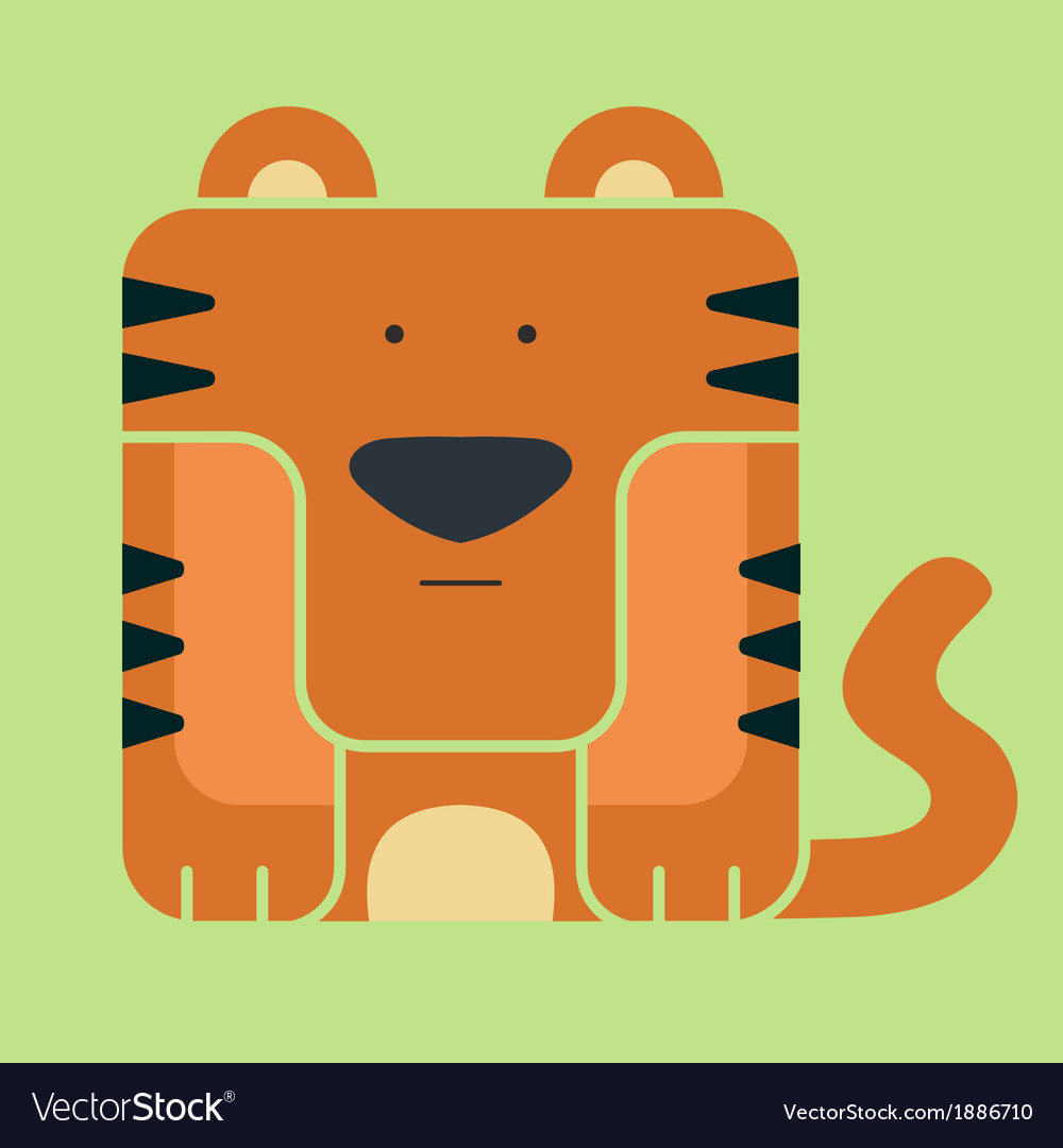 Flat square icon of a cute tiger vector | Price: 1 Credit (USD $1)