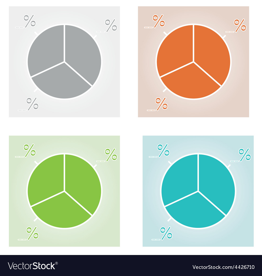 Four color pie charts vector | Price: 1 Credit (USD $1)