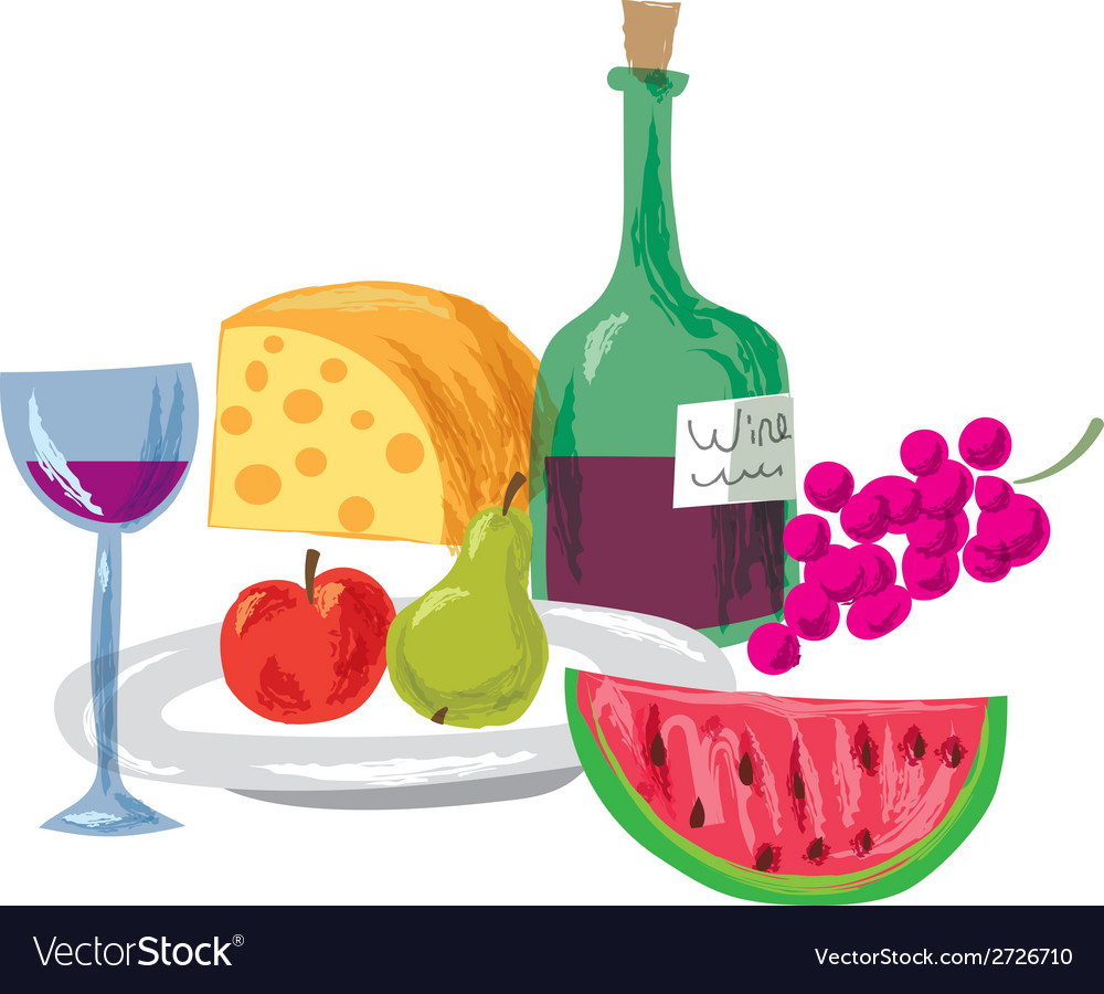 Fruits and wine vector | Price: 1 Credit (USD $1)