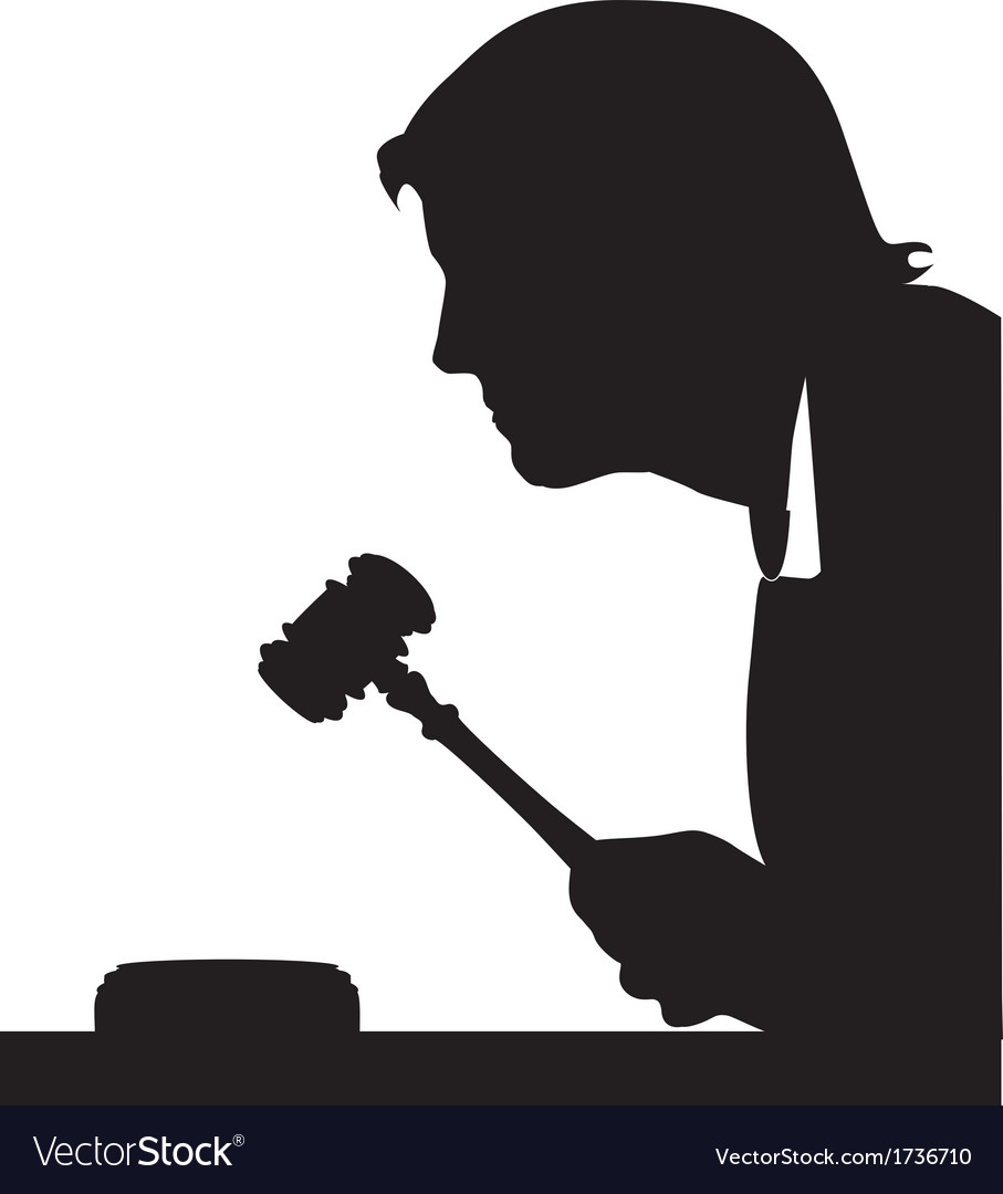 Judge hand with gavel silhouette vector | Price: 1 Credit (USD $1)