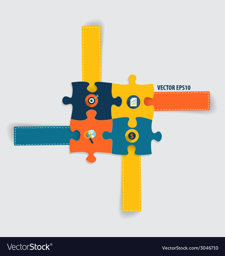 Modern infographics template style business puzzle vector | Price: 1 Credit (USD $1)