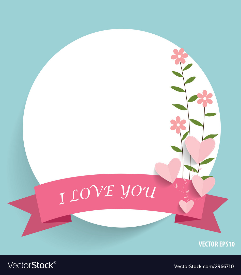 Note paper with ribbon heart and floral bouquets vector | Price: 1 Credit (USD $1)