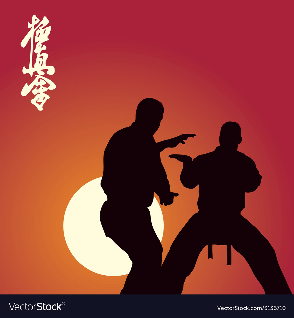 Two men are engaged in karate against the sun vector | Price: 1 Credit (USD $1)