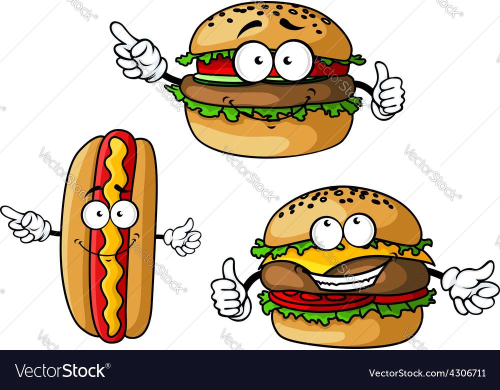Appetizing hamburgers and hot dog cartoon vector | Price: 1 Credit (USD $1)