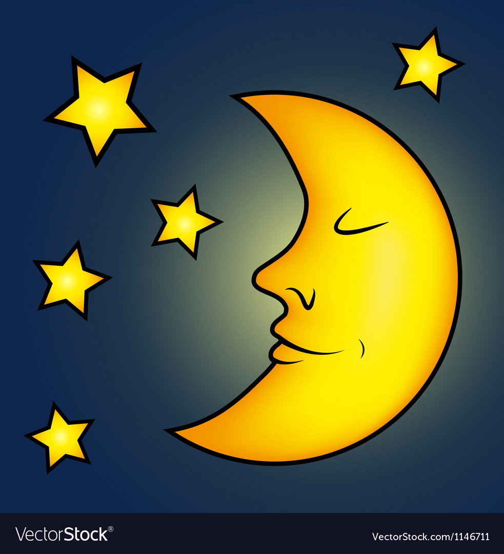 Bright moon and stars vector | Price: 1 Credit (USD $1)