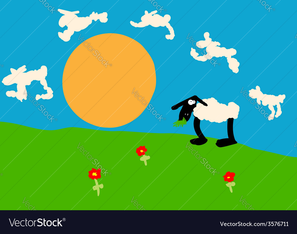 Child drawing of a sheep on the lawn vector | Price: 1 Credit (USD $1)