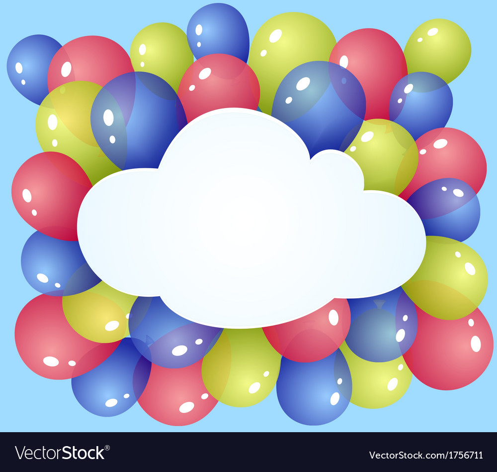 Cloud with balloons vector | Price: 1 Credit (USD $1)
