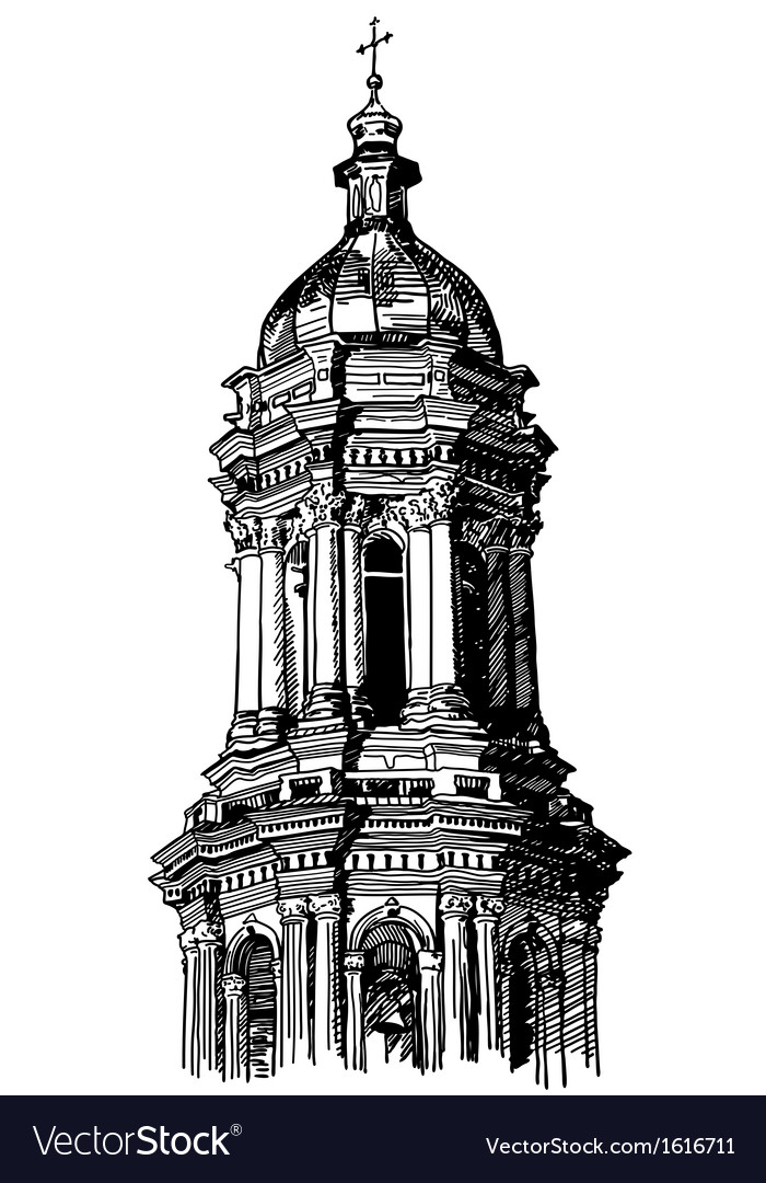 Digital drawing of historical building vector | Price: 1 Credit (USD $1)