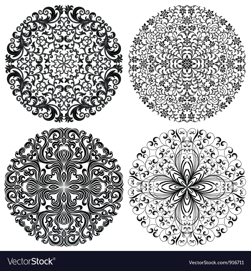 Floral patterns set vector | Price: 1 Credit (USD $1)