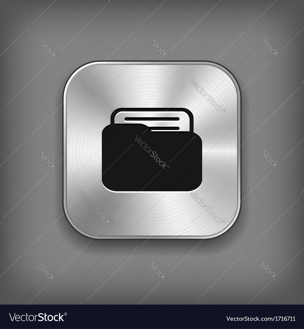 Folder icon - metal app button vector | Price: 1 Credit (USD $1)