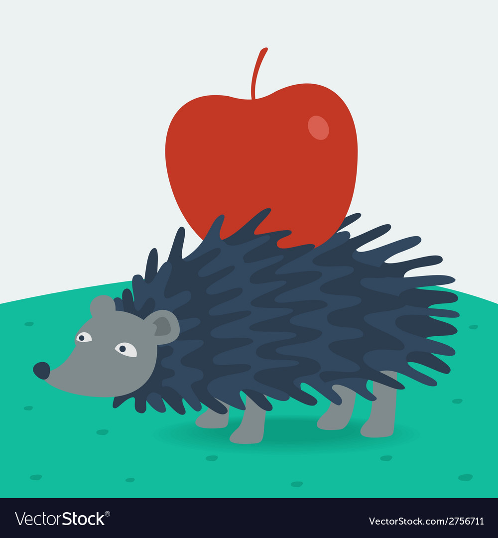 Forest hedgehog carries apple vector | Price: 1 Credit (USD $1)