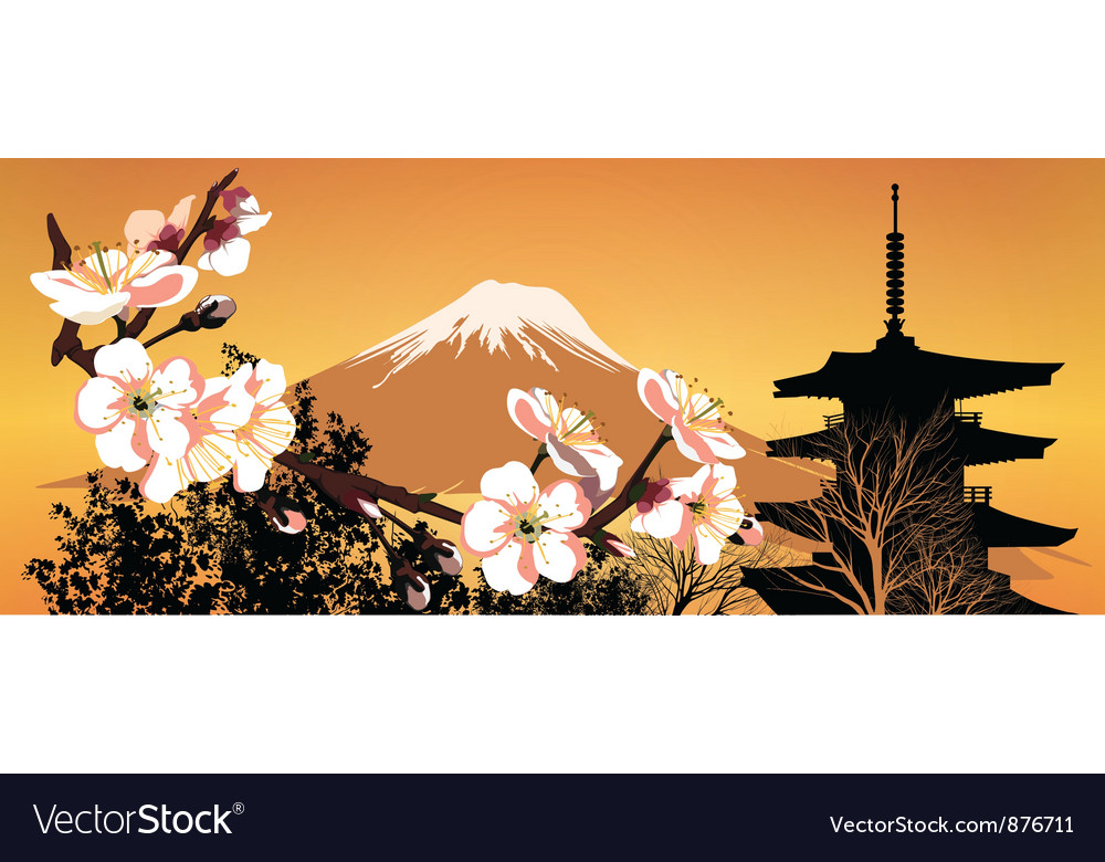 Postcard sakura japanese vector | Price: 1 Credit (USD $1)
