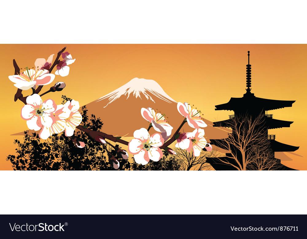Postcard sakura japanese vector | Price: 1 Credit (USD $1)