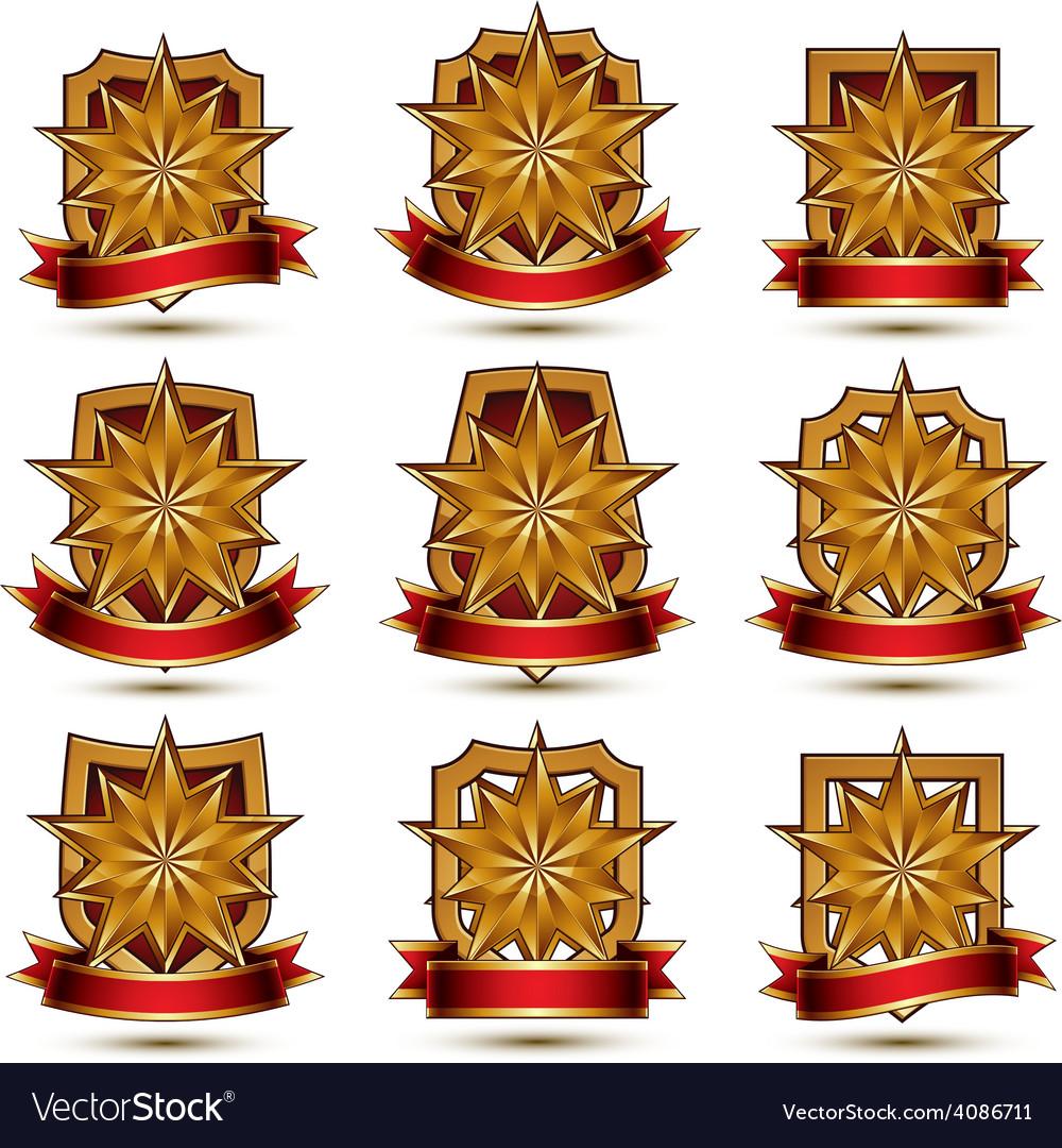 Set of geometric glamorous golden elements vector | Price: 1 Credit (USD $1)
