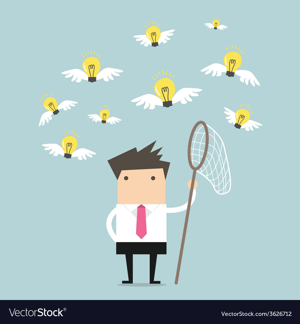 Businessman trying to catch a light bulb idea vector | Price: 1 Credit (USD $1)