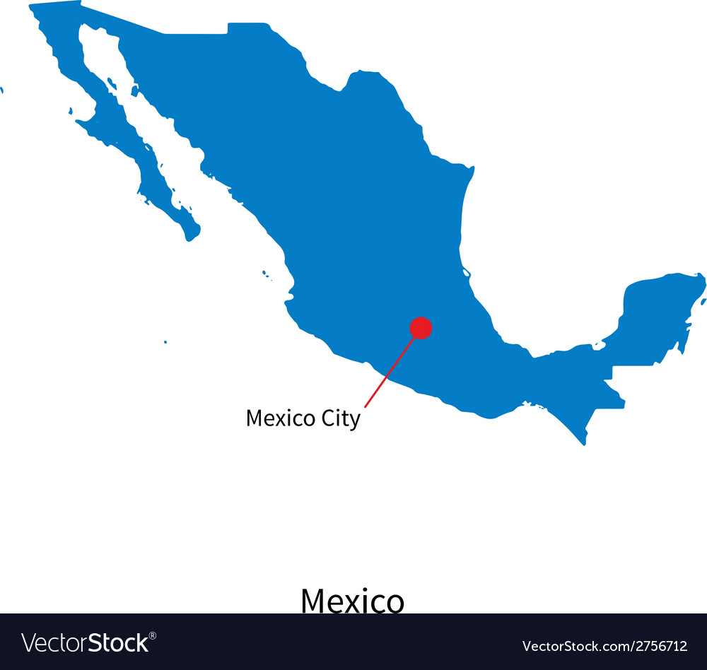 Detailed map of mexico and capital city mexico vector | Price: 1 Credit (USD $1)