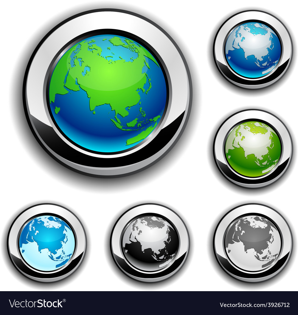Earth buttons - eurasia vector | Price: 1 Credit (USD $1)
