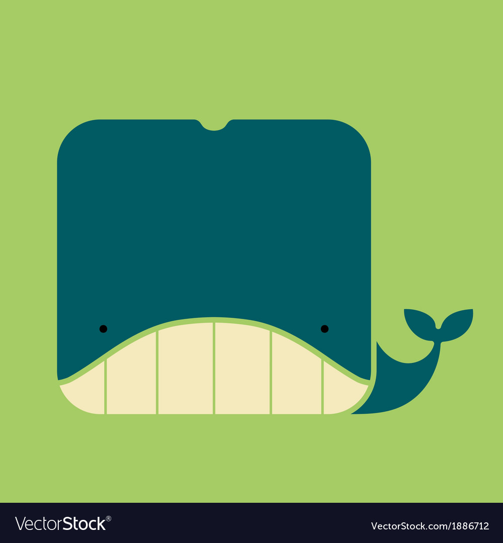 Flat square icon of a cute whale vector | Price: 1 Credit (USD $1)