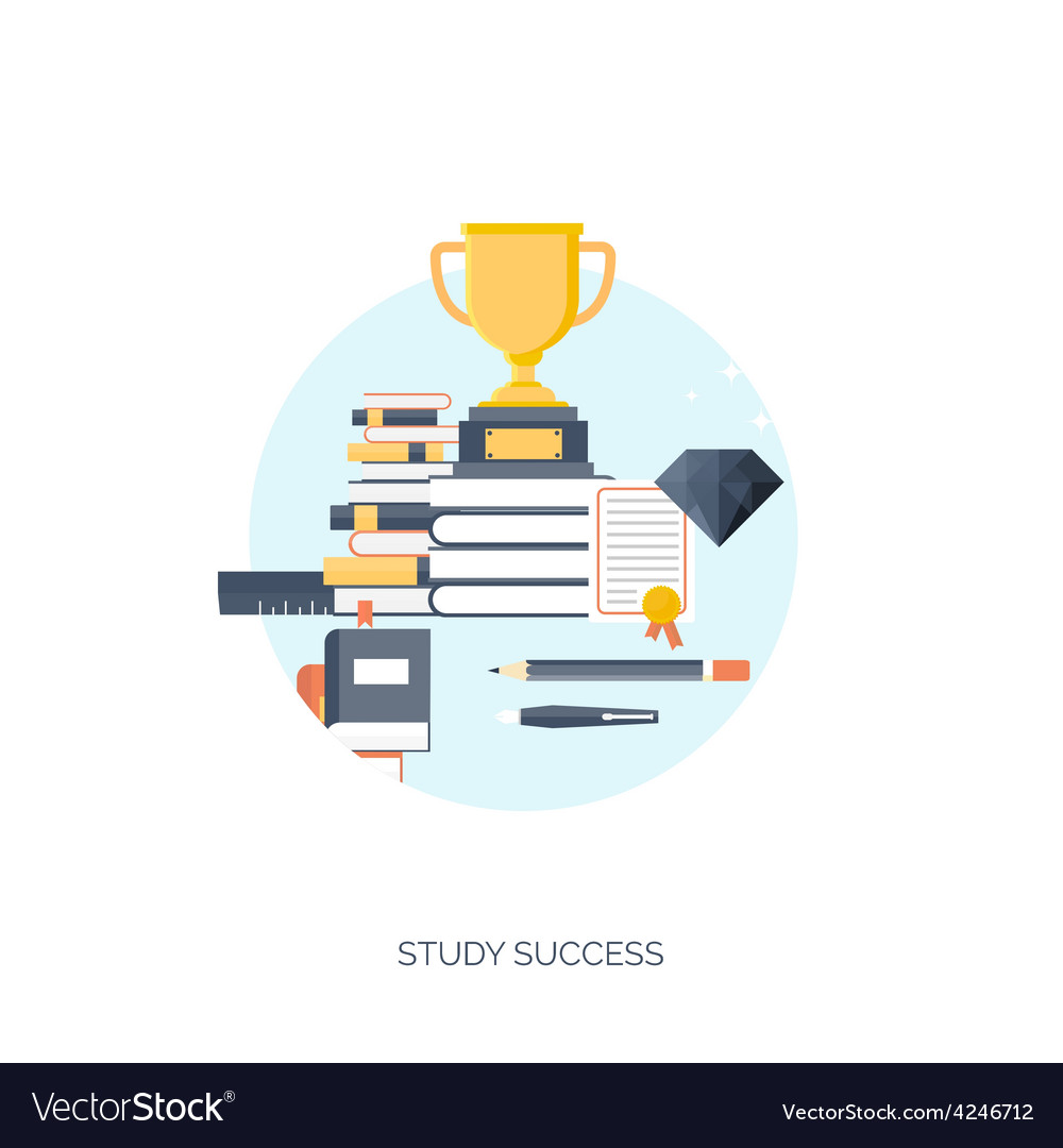 Flat  trophy study success vector | Price: 1 Credit (USD $1)