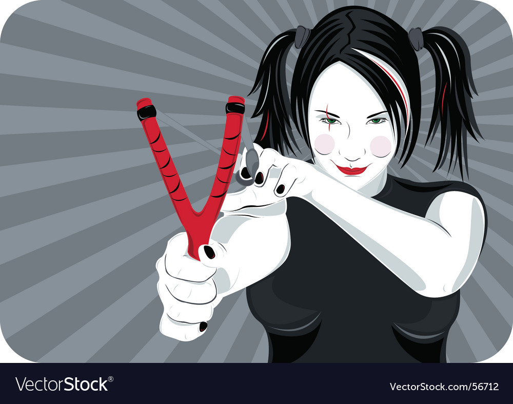 Girl with sling shot vector | Price: 3 Credit (USD $3)