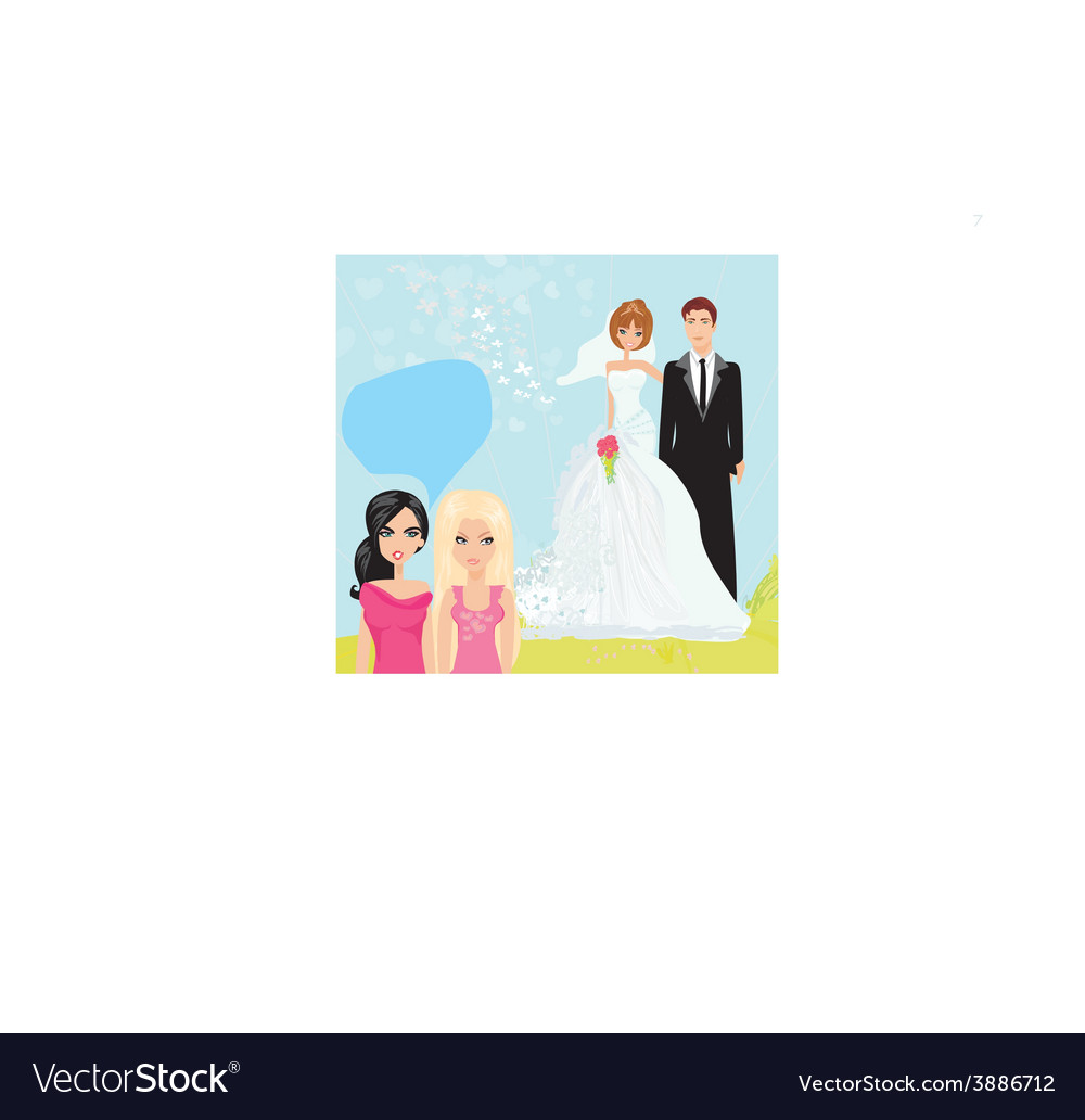 Girls gossiping about the wedding couple vector | Price: 1 Credit (USD $1)