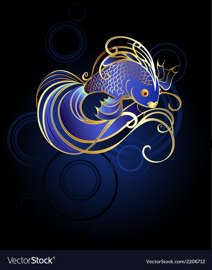 Goldfish on a blue background vector | Price: 1 Credit (USD $1)