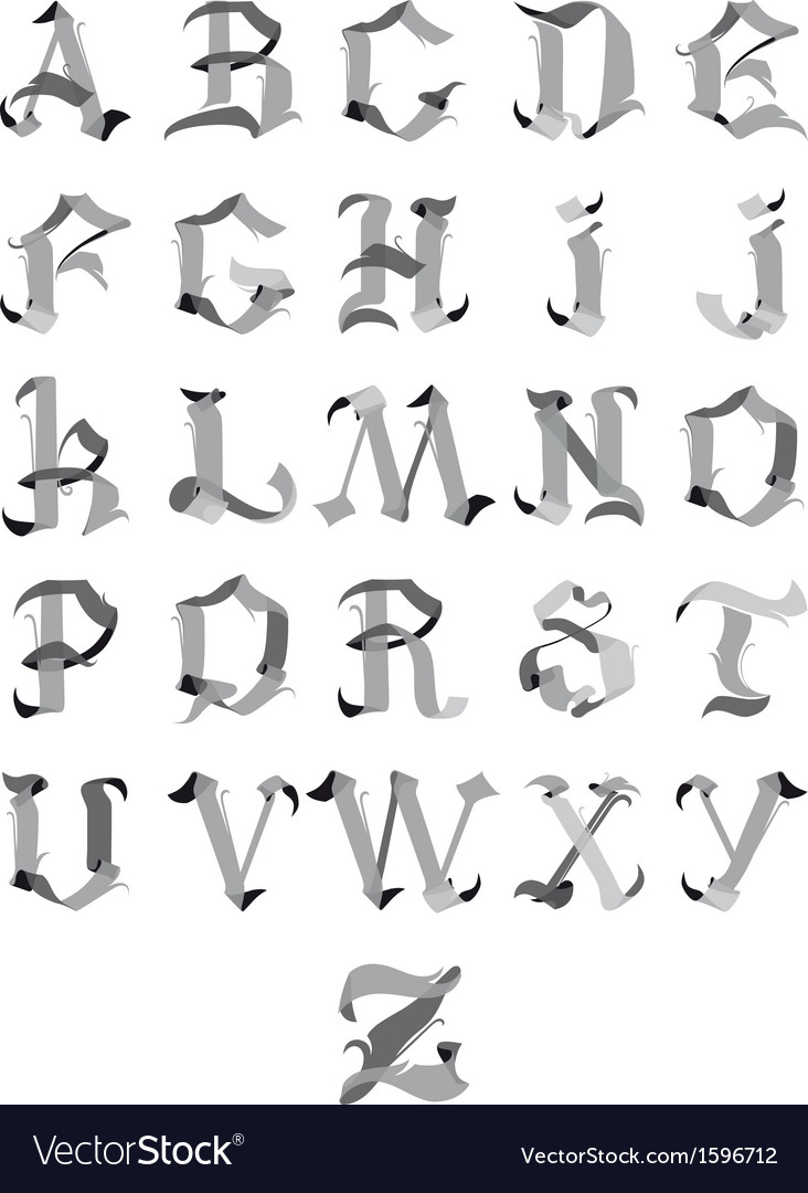Gothic alphabet vector | Price: 1 Credit (USD $1)