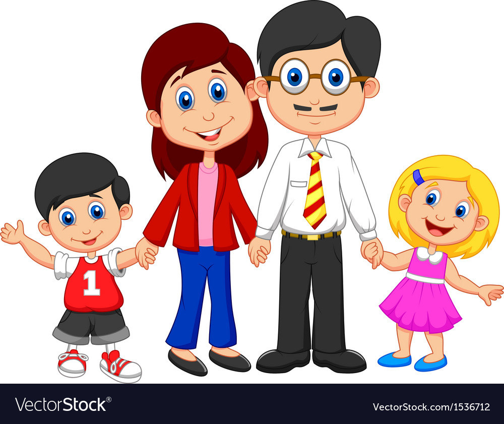 Happy family cartoon vector | Price: 3 Credit (USD $3)