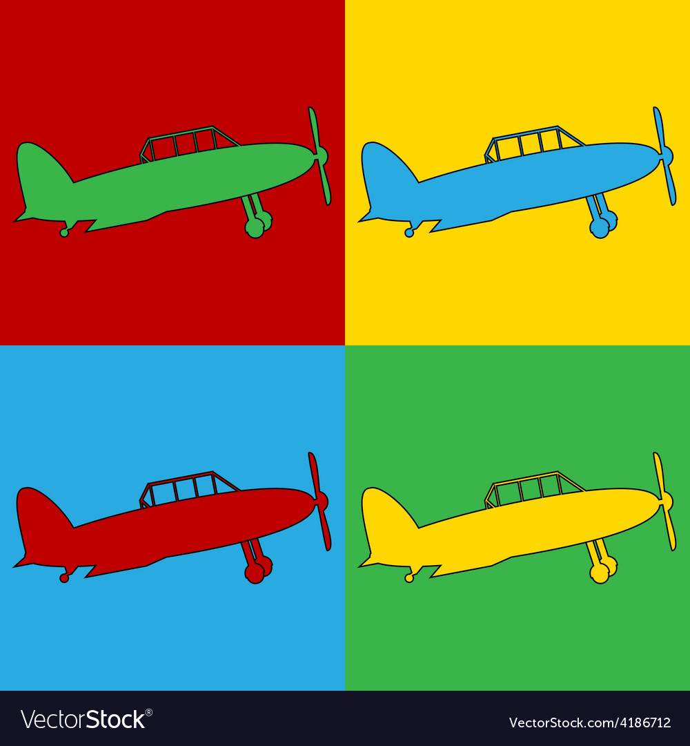 Pop art retro military airplane icons vector | Price: 1 Credit (USD $1)