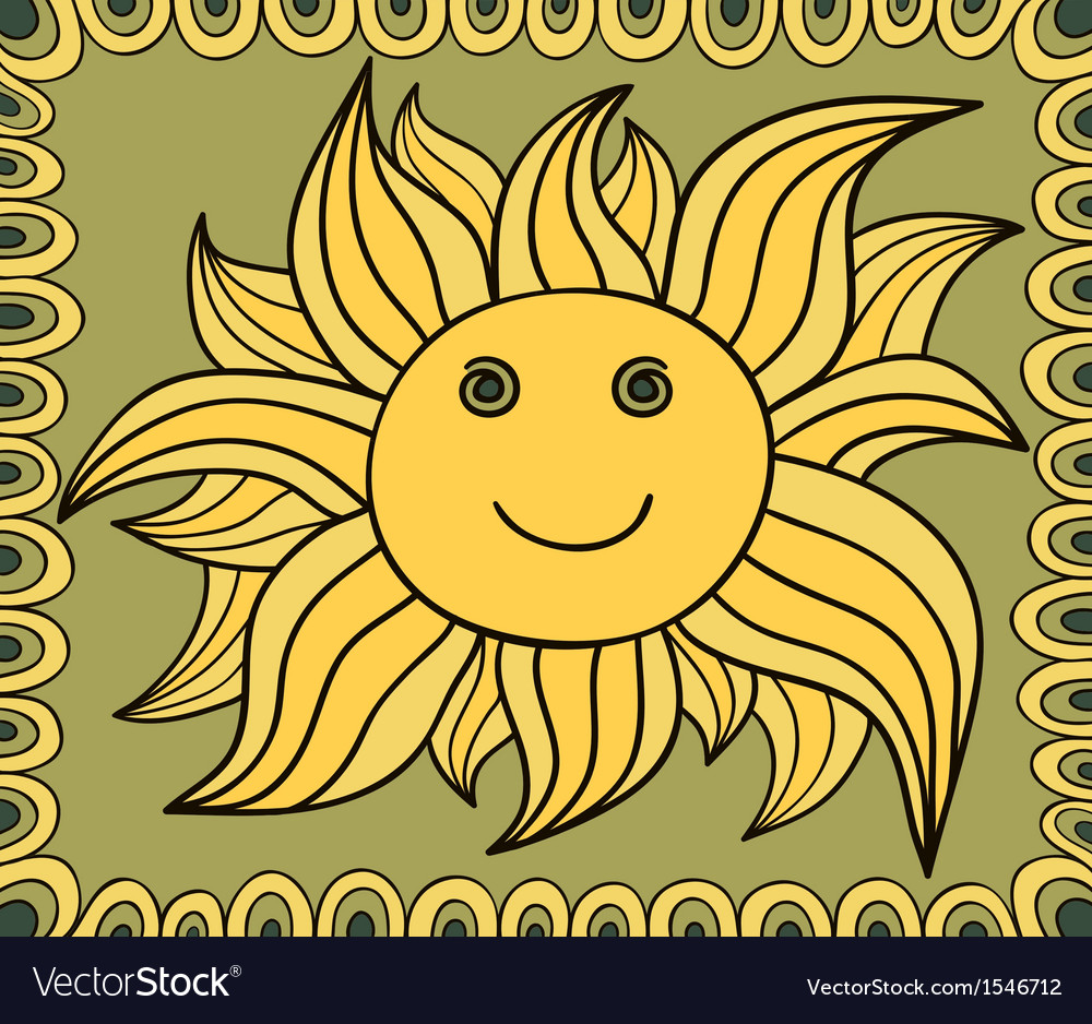 Stylized sun drawing background vector | Price: 1 Credit (USD $1)