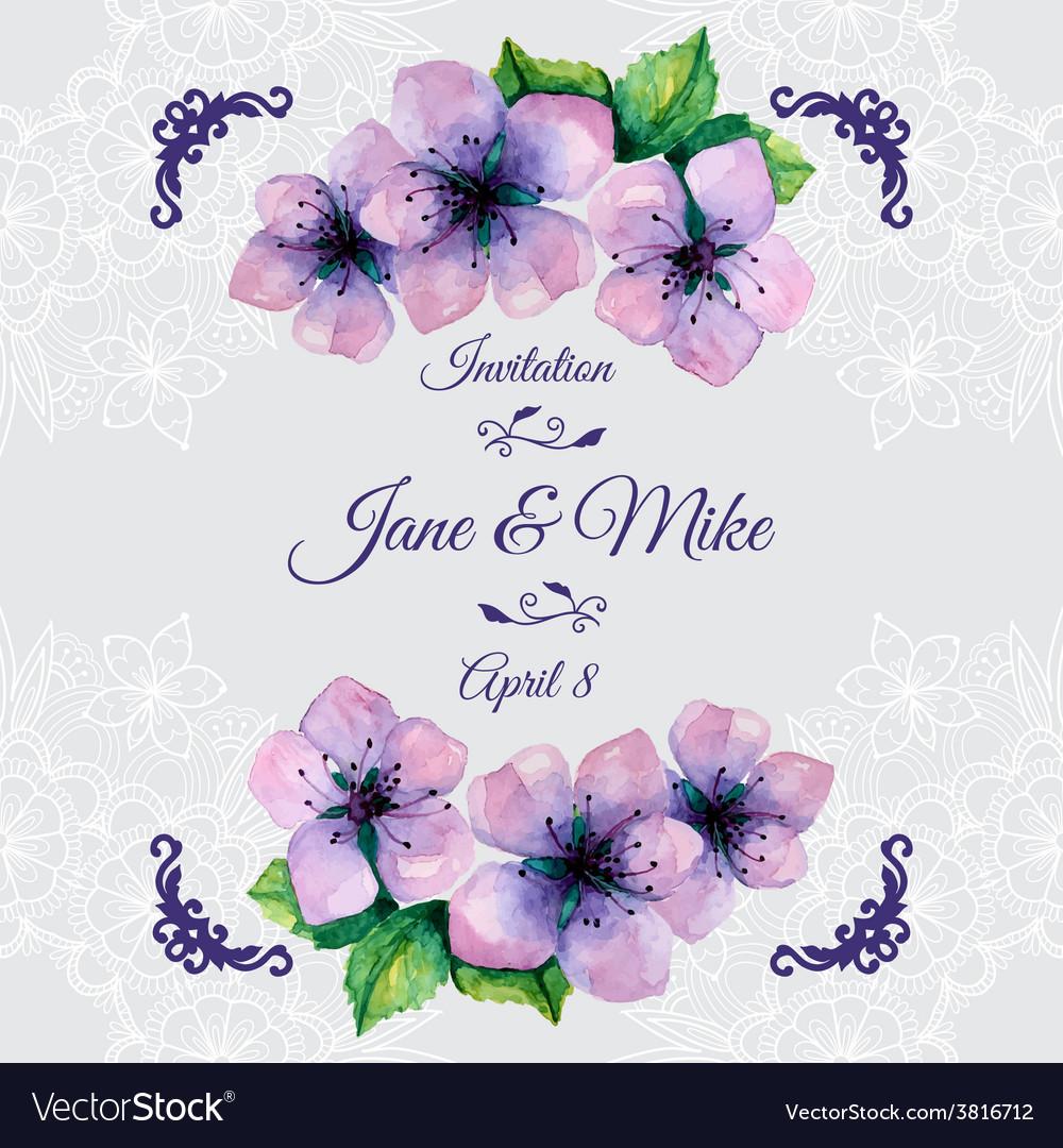 Watercolor elegant wedding invitation with vector | Price: 1 Credit (USD $1)