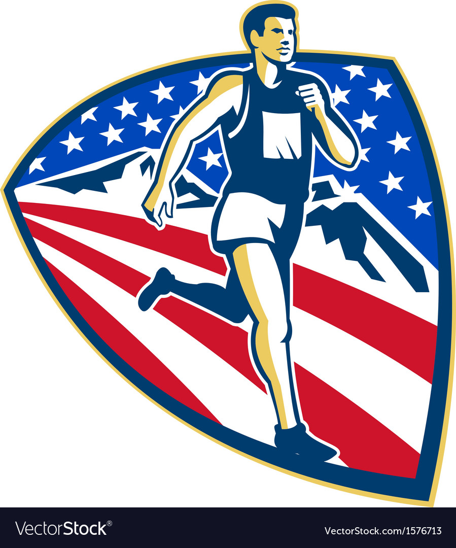 American marathon runner running retro vector | Price: 1 Credit (USD $1)