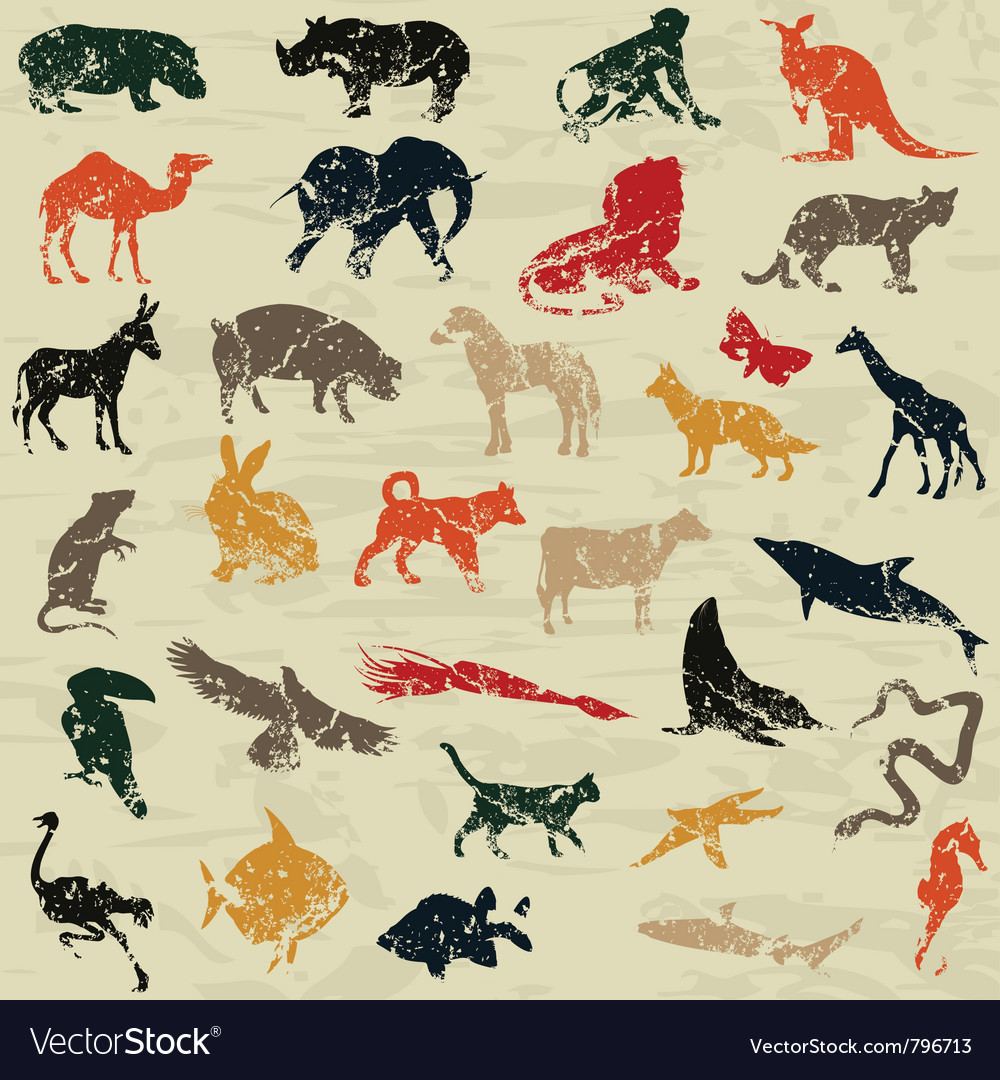 Animals in a retro style vector | Price: 1 Credit (USD $1)