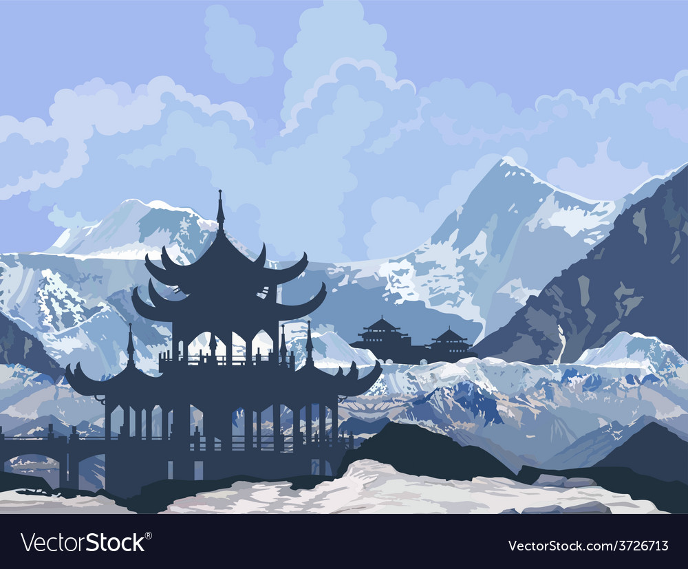 Chinese pagoda in the snowy mountains vector | Price: 3 Credit (USD $3)