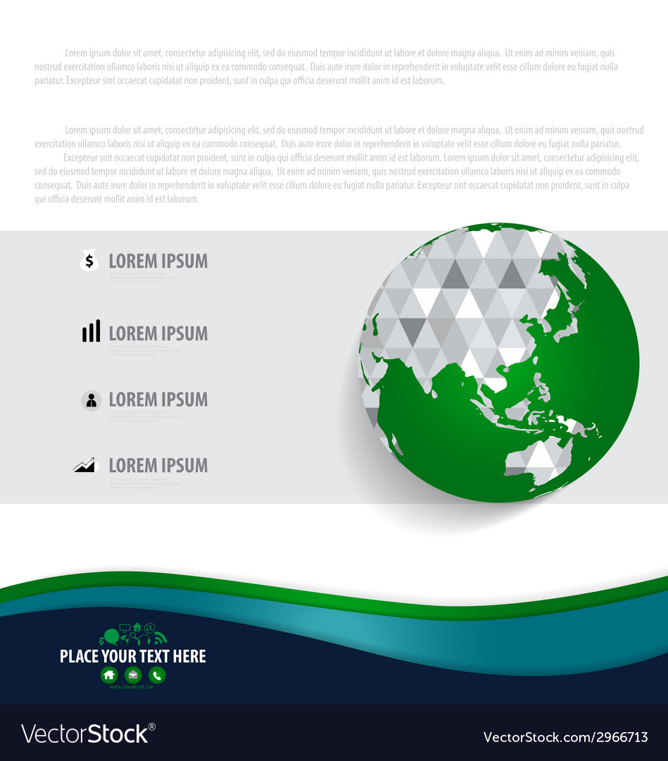 Infographics design template with modern globe vector | Price: 1 Credit (USD $1)